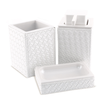 Marrakech Pearl White Faux Leather Thermoplastic Resins Accessory Set