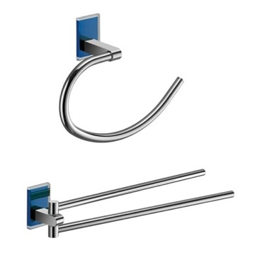 Blue And Chrome Towel Ring And Swivel Towel Bar Set