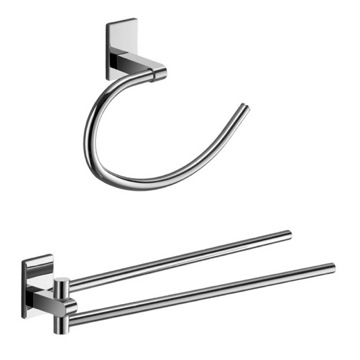Chrome Towel Ring And Swivel Towel Bar Set
