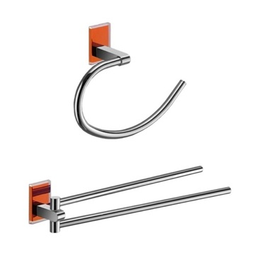 Orange And Chrome Towel Ring And Swivel Towel Bar Set