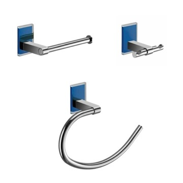 Blue And Chrome 3 Piece Accessory Set