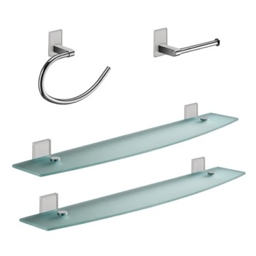 White And Chrome 4 Piece Accessory Hardware Set