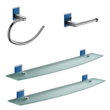 Blue And Chrome 4 Piece Accessory Hardware Set