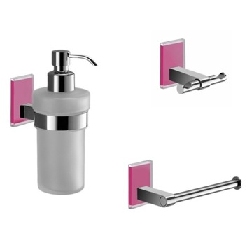 Wall Mounted 3 Piece Pink And Chrome Accessory Set