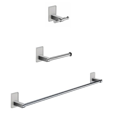 Wall Mounted 3 Piece White And Chrome Accessory Set