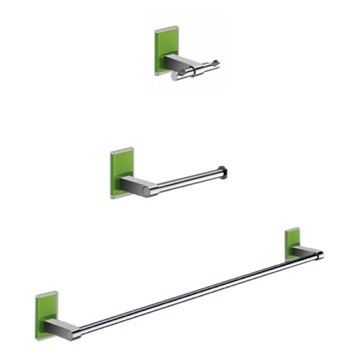 Wall Mounted 3 Piece Green And Chrome Accessory Set