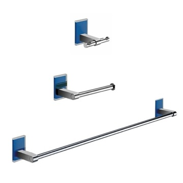 Wall Mounted 3 Piece Blue And Chrome Accessory Set