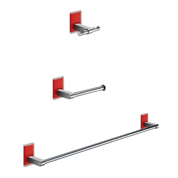 Wall Mounted 3 Piece Red And Chrome Accessory Set