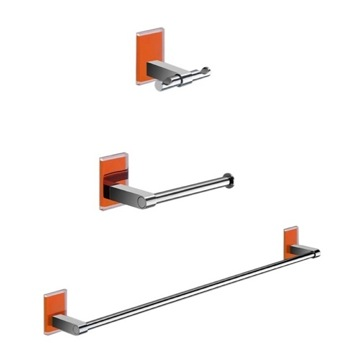 Wall Mounted 3 Piece Orange And Chrome Accessory Set