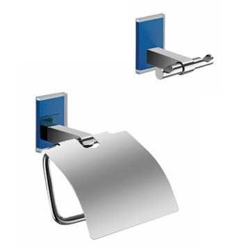 Blue And Chrome Toilet Roll Holder And Robe Hook Accessory Set