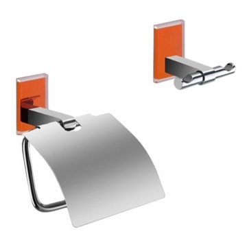 Orange And Chrome Toilet Roll Holder And Robe Hook Accessory Set