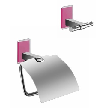 Pink And Chrome Toilet Roll Holder And Robe Hook Accessory Set