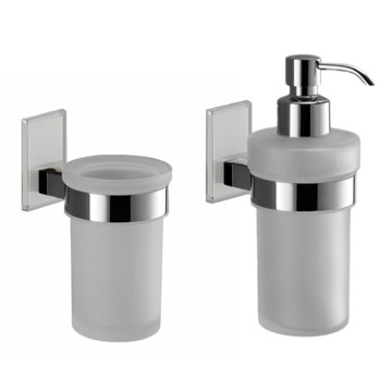White And Chrome Toothbrush Tumbler And Soap Dispenser Accessory Set