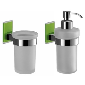 Green And Chrome Toothbrush Tumbler And Soap Dispenser Accessory Set