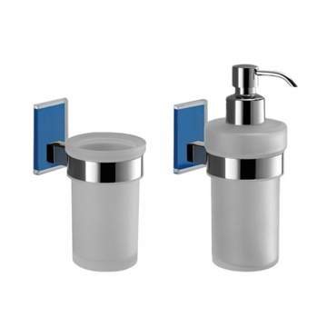 Blue And Chrome Toothbrush Tumbler And Soap Dispenser Accessory Set