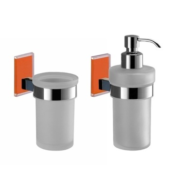 Orange And Chrome Toothbrush Tumbler And Soap Dispenser Accessory Set