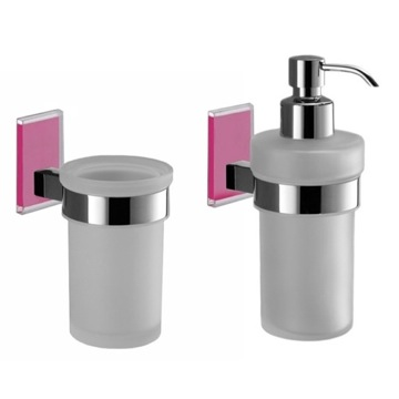 Pink And Chrome Toothbrush Tumbler And Soap Dispenser Accessory Set
