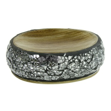 Soap Dish, Contemporary, Grey Silver, Stainless Steel,Pottery,Clear Glass, Gedy Myosotis, Gedy MY11-73