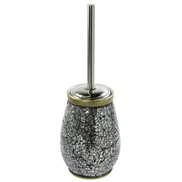 Round Grey-Silver Toilet Brush Holder