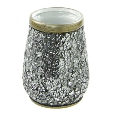Round Grey-Silver Toothbrush Holder