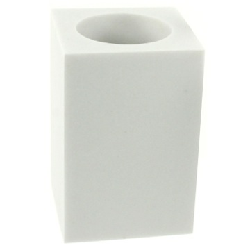 Square Free Standing Toothbrush Tumbler in White Finish