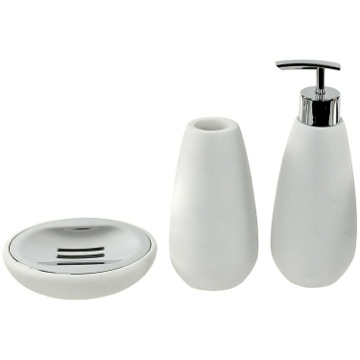 3 Piece White Stone Bathroom Accessory Set Gedy