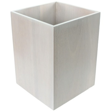 Waste Basket Made From White Finish Wood
