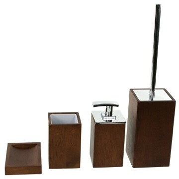 Wooden 4 Piece Brown Bathroom Accessory Set
