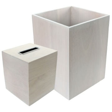 Wooden 2 Piece White Bathroom Accessory Set