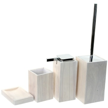 Wooden 4 Piece White Bathroom Accessory Set