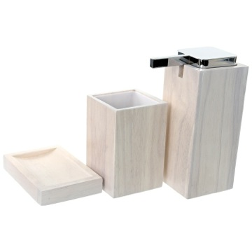 Wooden 3 Piece White Bathroom Accessory Set