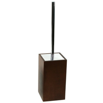 Brown Square Toilet Brush Holder Made of Wood