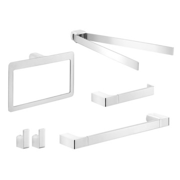 5 Piece Chrome Wall Mounted Bathroom Hardware Set