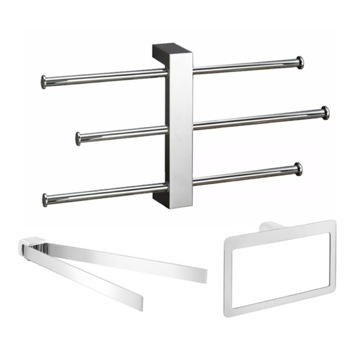 Chrome 3 Piece Hardware Set with Adjustable Towel Rack