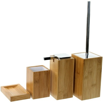 Wooden 4 Piece Bamboo Bathroom Accessory Set