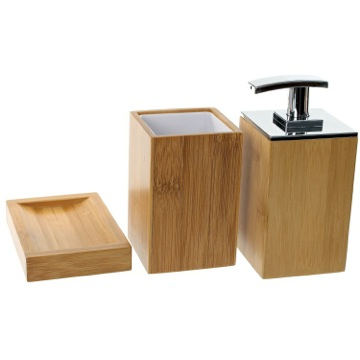 Wooden 3 Piece Bamboo Bathroom Accessory Set