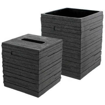 Quadrotto Black 2-Piece Bathroom Accessory Set