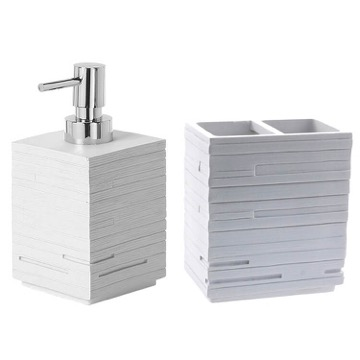 Bathroom Accessory Set Quadrotto White Resin Soap Dispenser And Toothbrush Holder Set QU500-02 Gedy QU500-02