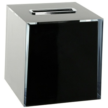 Thermoplastic Resin Square Tissue Box Cover in Black Finish