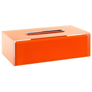 Thermoplastic Resin Rectangular Tissue Box Cover in Orange Finish