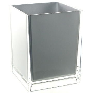 Free Standing Waste Basket With No Cover in Silver Finish
