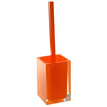 Orange Decorative Square Toilet Brush Holder