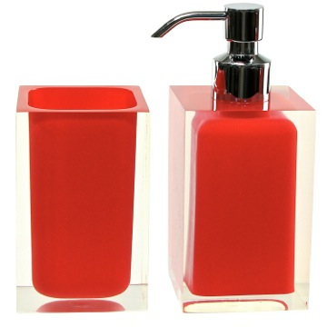 Bathroom Accessory Set Red 2 Pc. Accessory Set Made With Thermoplastic Resins RA681-06 Gedy RA681-06