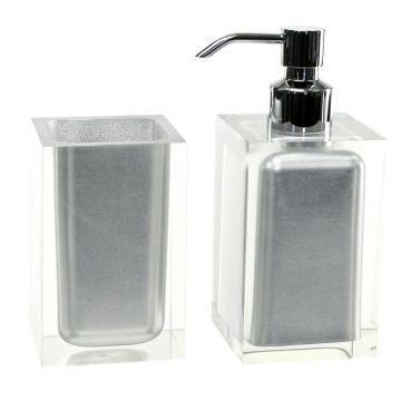 Bathroom Accessory Set Silver 2 Pc. Accessory Set Made With Thermoplastic Resins RA681-73 Gedy RA681-73