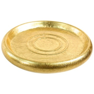 Gold Round Soap Dish in Pottery