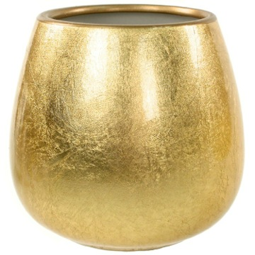 Round Pottery Toothbrush Holder in Gold