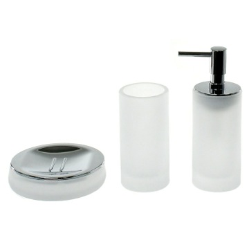 3 Piece White Satin Glass Bathroom Accessory Set