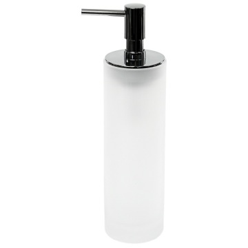 White Round and Free Standing Soap Dispenser in Glass