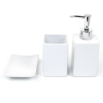 Verbena White Pottery Bathroom Accessory Set