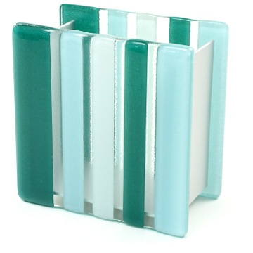 Light Blue or Green Glass/Aluminum Toothbrush Holder